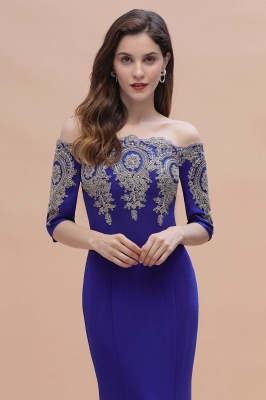 Mermaid Off-Shoulder Chiffon Lace Half Sleeve Evening Dress On Sale_11
