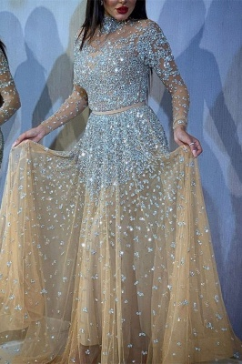 Sparkly A-Line Tulle High-Neck Beadings Prom Dress with Long Sleeves Online_1
