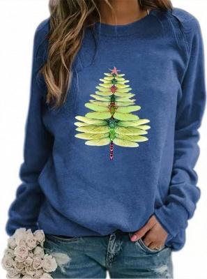 Women's Dragonfly Christmas Tree Print Sweatshirt_4