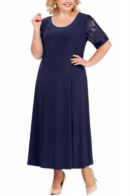 Chic Scoop Lace Half Sleeves Ankle Length Mother of Bride Dress_5