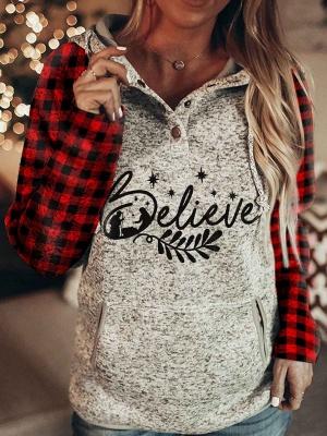 Ladies Christmas Believe Print Plaid Hoodie_1
