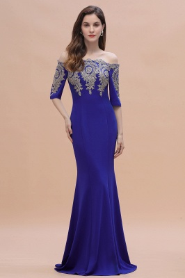 Mermaid Off-Shoulder Chiffon Lace Half Sleeve Evening Dress On Sale_7