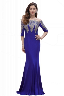 Mermaid Off-Shoulder Chiffon Lace Half Sleeve Evening Dress On Sale_3