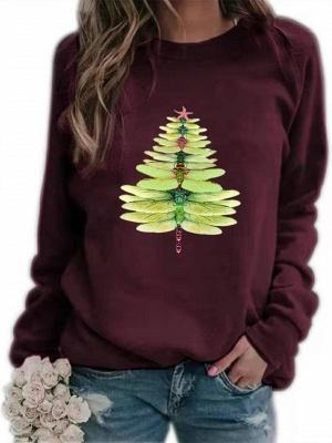 Women's Dragonfly Christmas Tree Print Sweatshirt_2