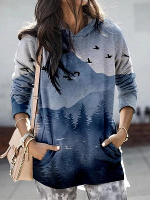 Women's Mountain Printed Hooded Casual Sweatshirt_5