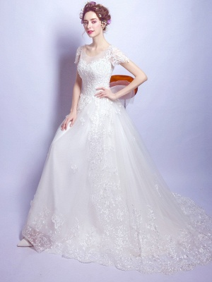 A-Line Tulle Lace Scoop Cap Sleeves Wedding Dress with Bowknot_5