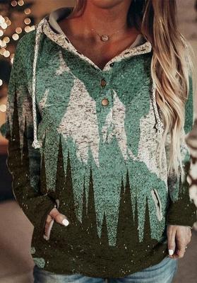 Women's Mountain Print Casual Sweatshirt_1
