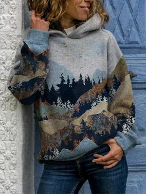 Women's Art Mountain Print Casual Hoodie & Sweatshirt_1