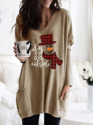 Women's Baby It's Cold Outside Print Long Top_3