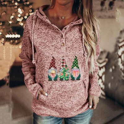 Women's Gnomes Printed Christmas Hooded_2