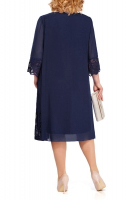 3/4 Sleeves Jewel Lace Knee Length Mother of Bride Dress_9
