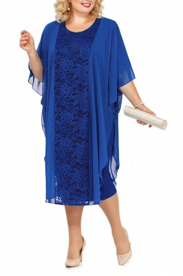Lace Jewel Half Sleeves Mother of Bride Dress In Burgundy Royal Blue Dark Navy_2