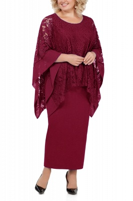 Long Sleeves Lace Jewel Ankle Length Mother of Bride Dress with Slit_1