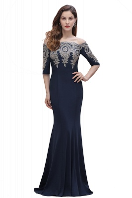 Mermaid Off-Shoulder Chiffon Lace Half Sleeve Evening Dress On Sale_4