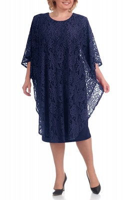 Half Sleeves Jewel Lace Knee Length Mother of Bride Dress On Sale_3