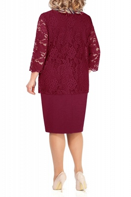 Sheath Jewel Knee Length Mother of Bride Dress with 3/4 Sleeves Lace Wrap_11