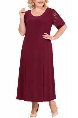 Chic Scoop Lace Half Sleeves Ankle Length Mother of Bride Dress
