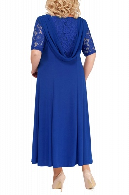 Chic Scoop Lace Half Sleeves Ankle Length Mother of Bride Dress_4