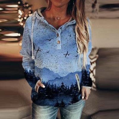 Women's Autumn Mountain Print Casual Hooded Sweatshirt_2