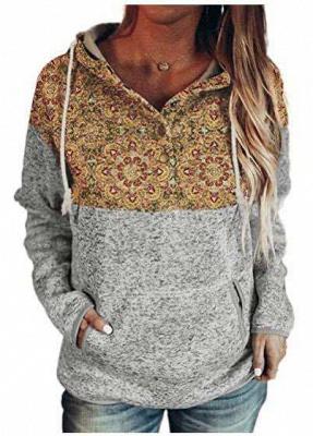 Ladies Fashion Printed Hooded Casual T-shirt_2