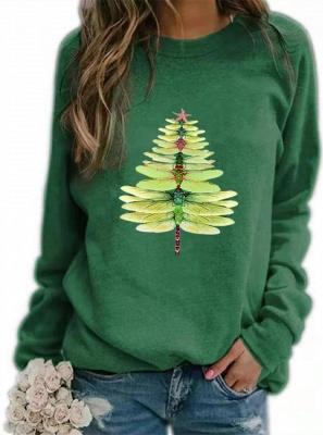 Women's Dragonfly Christmas Tree Print Sweatshirt_7