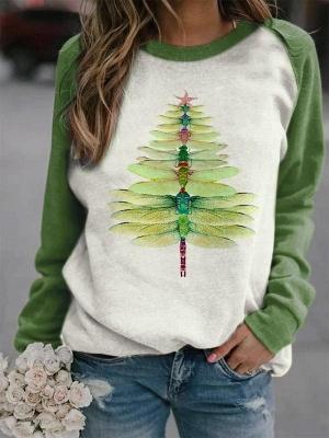 Dragonfly Christmas Tree Print Sweatshirt_3