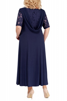 Chic Scoop Lace Half Sleeves Ankle Length Mother of Bride Dress_6