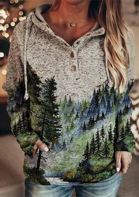 Women's Winter Mountain Print Casual Sweatshirt_1