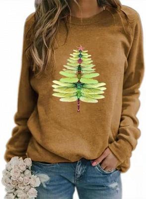Women's Dragonfly Christmas Tree Print Sweatshirt_3