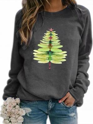 Women's Dragonfly Christmas Tree Print Sweatshirt_6