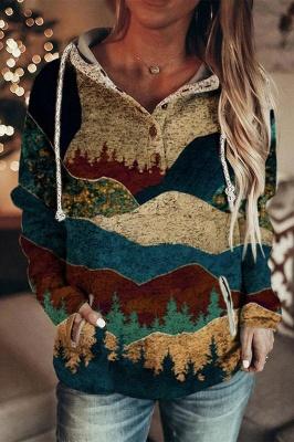 Women's Autumn And Winter Mountain Print Casual Hoodie Sweatshirt_1