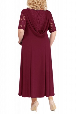Chic Scoop Lace Half Sleeves Ankle Length Mother of Bride Dress_2