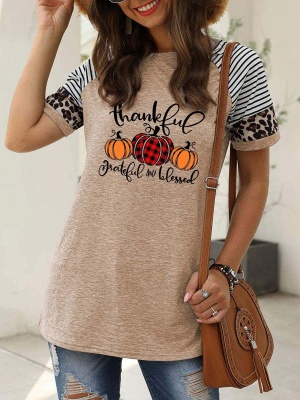 Women's Thankful Grateful And Blessed Printed Leopard Print Casual T-shirt_4