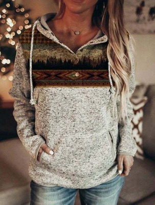 Ladies Fashion Printed Hooded Casual T-shirt_1