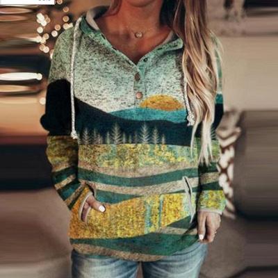 Autumn And Winter Mountain Print Casual Sweatshirt_2