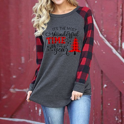 Women's IT'S THE MOST WONDERFUL TIME OF THE YEAR Christmas Check Sweatshirt_1