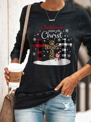 Women's Christmas Begins With Christ Print Sweatshirt_2