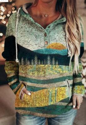 Autumn And Winter Mountain Print Casual Sweatshirt_1