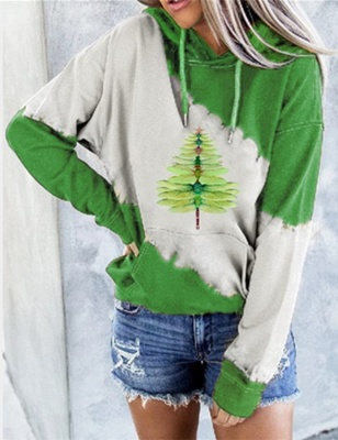 Women's Dragonfly Christmas Tree Print Sweatshirt_1