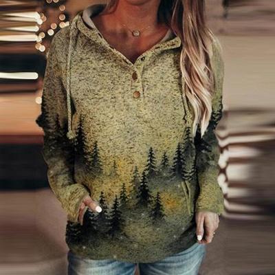 Fashion Women's Mountain Print Casual Sweatshirt Long Sleeves_3