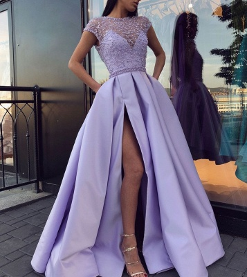 Sexy Jewel Tulle Satin Beadings Slit Prom Dress with Cap Sleeves Online_2