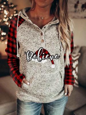 Believe Buffalo Plaid Santa Hat Long Sleeve Hoodies_2
