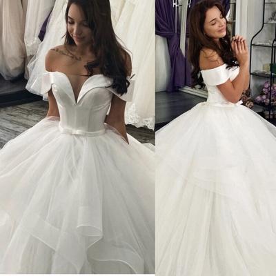Cheap Off the Shoulder Satin White A Line Wedding Dresses_1