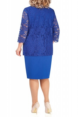 Sheath Jewel Knee Length Mother of Bride Dress with 3/4 Sleeves Lace Wrap_5