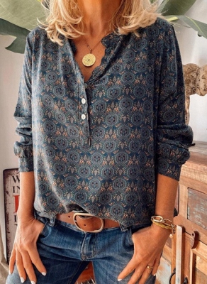 Ladies Vintage Printed Stand Collar Casual T-shirt_1
