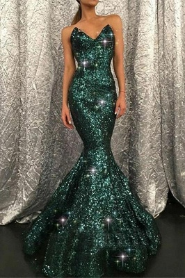 Sparkly Mermaid Black Sequined V-neck Prom Dress without Sleeves On Sale_1