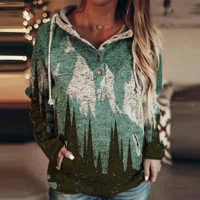 Women's Mountain Print Casual Sweatshirt_2