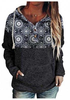 Ladies Fashion Printed Hooded Casual T-shirt_3