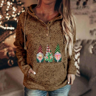 Women's Gnomes Printed Christmas Hooded_3