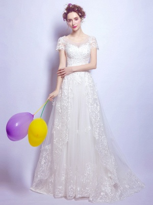 A-Line Tulle Lace Scoop Cap Sleeves Wedding Dress with Bowknot_1